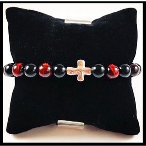 Men or women red tiger eye onyx cross bracelet